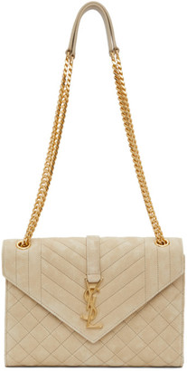 Saint Laurent Beige Suede Medium Envelope Bag