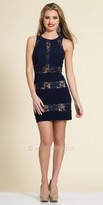 Dave and Johnny Fitted Lace Panel Cocktail Dress