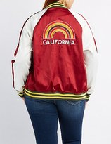 Charlotte Russe Plus Size Satin Embroidered Bomber Jacket
