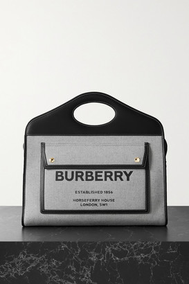 Burberry Medium Leather-trimmed Printed Canvas Tote - Black