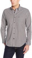 Nautica Men's Long Sleeve Wrinkle Resistant Poplin Small Check Shirt