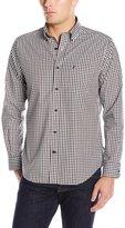 Nautica Men's Long Sleeve Wrinkle Resistant Poplin Small Check Shirt