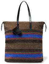 Dries Van Noten Leather-Trimmed Striped Wool-Blend Tote Bag