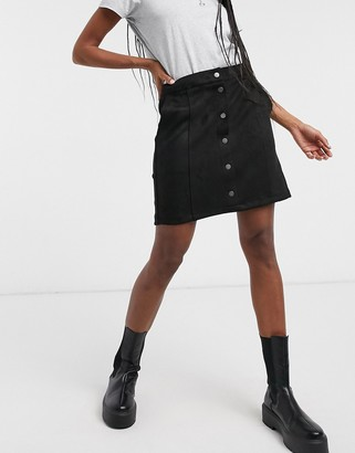 Vero Moda button through faux-suede skirt in black