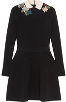 RED Valentino Appliquéd Point D'esprit-paneled Ribbed-knit Mini Dress - Black