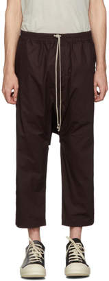 Rick Owens Burgundy Cropped Drawstring Trousers