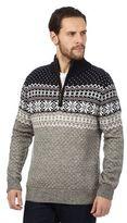 Mantaray Grey Snowflake Patterned Jumper With Wool