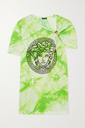 Versace Gathered Printed Tie-dyed Cotton-jersey T-shirt - Green