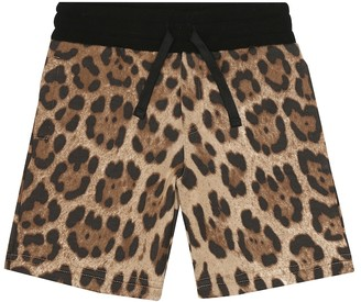 Dolce & Gabbana Kids Leopard-print cotton shorts