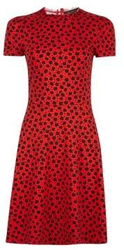 Dorothy Perkins Womens Red Floral Print Ruffle Neck Fit And Flare Dress, Red
