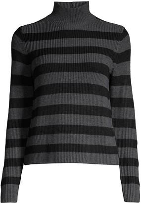 Eileen Fisher Striped Mockneck Wool Sweater