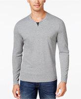Alfani Men's Heather Long-Sleeve Split Crewneck T-Shirt