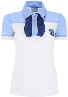Prada Ruffled Zip Polo Shirt