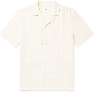 Folk Overlay Camp-Collar Garment-Dyed Slub Linen and Cotton-Blend Shirt - Men