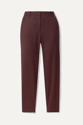 Nili Lotan Leo Wool-blend Twill Tapered Pants - Burgundy