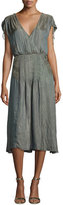 Veronica Beard Flash Iridescent Pintucked Midi Dress, Green/Brown