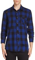 Hudson Destroyed Plaid Regular Fit Snap Front Shirt