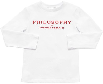 Philosophy di Lorenzo Serafini Embroidered L/S Cotton Jersey T-Shirt