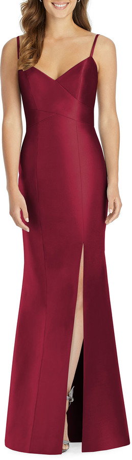 Thumbnail for your product : Alfred Sung V-Neck Spaghetti-Strap Sateen Twill Gown Bridesmaid Dress with Slit