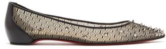Christian Louboutin Spike-embellished Lace Ballet Flats - Black