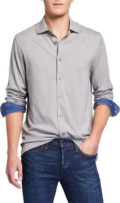 Bugatchi Men's Long-Sleeve Knit Sport Shirt