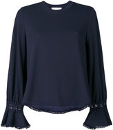 See by Chloe fluted sleeve blouse - women - Cotton/Polyamide/Polyester/Viscose - S
