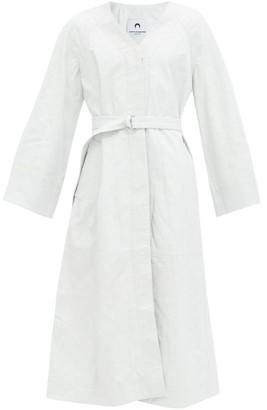 Marine Serre Moon-embossed Leather Coat - White