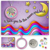 A Touch of Dazzle I Love You To The Moon And Back Heart Locket Necklace and Card Set A Christmas Gift For Mom Best Gift For Daughter