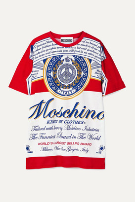 Moschino + Budweiser Oversized Printed Cotton-jersey T-shirt - Red