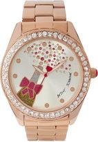 Betsey Johnson Women's Rose Gold-Tone Bracelet Watch 44mm BJ00249-40