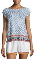 Calypso St. Barth Zahara Cap-Sleeve Embroidered Tee, Coconut