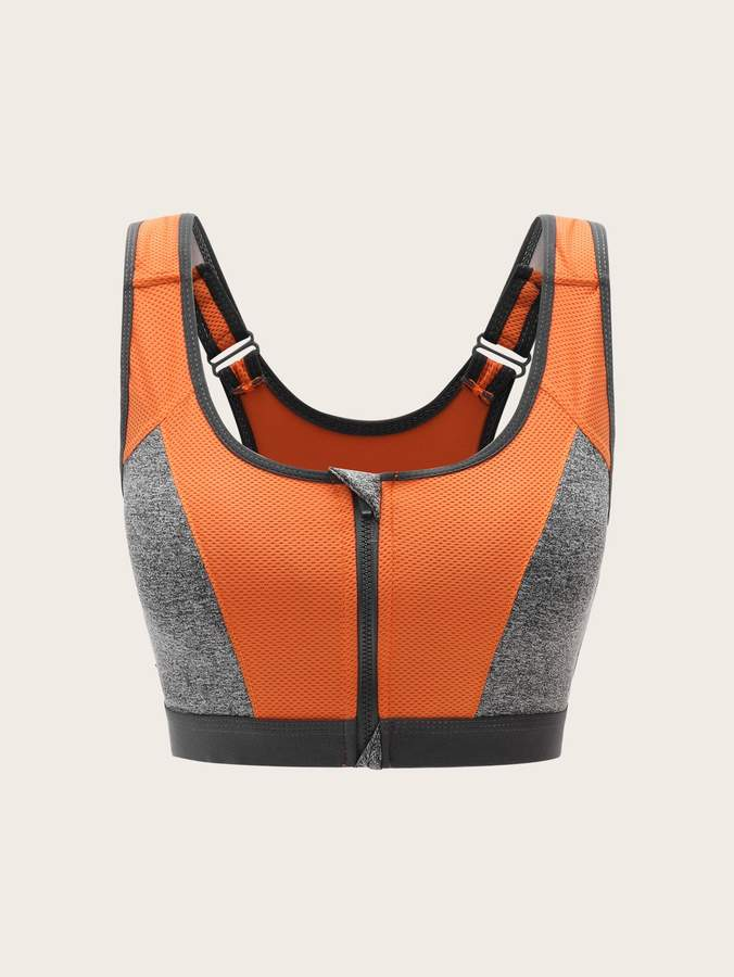 Cut-out Back Two-tone Zipper Up Sport Bra