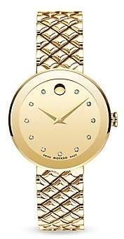 Movado Women's Sapphire Diamond & Stainless Steel Bezel-Free Quilted Bracelet Watch