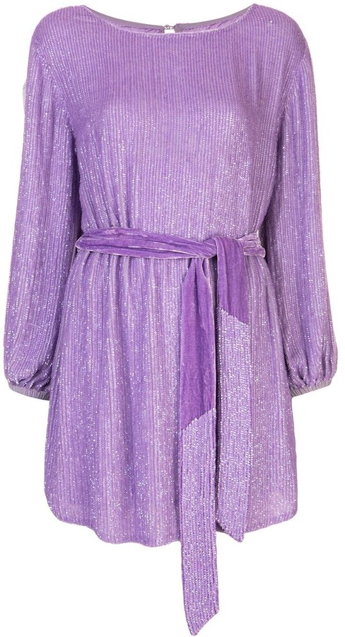 retrofete Belted Sequin Mini Dress