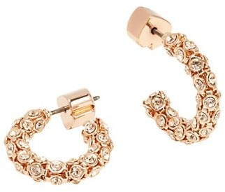 Kate Spade Adore-Ables Rose Goldplated & Glass Pave Mini Hoop Earrings