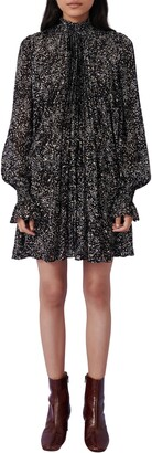 Maje Metallic Spot Print Long Sleeve Silk Blend Swing Dress