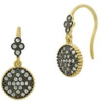 Freida Rothman Signature Pave Disc Hook Drop Earrings