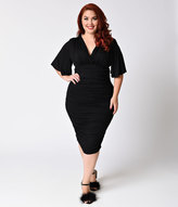 Kiyonna Plus Size Black Noir Ruched Rumor Wiggle Dress