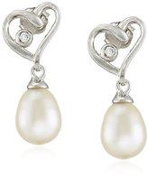 Bella Pearl Bezel Cubic Zirconia Heart Drop Earrings