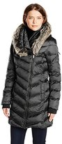 French Connection Women's Down Coat with Faux Fur Hood