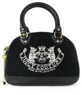 Juicy Couture Black Suede Gold Tone Hardware Handbag Satchel