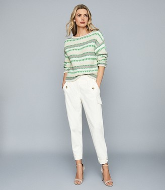 Reiss ANNA PASTEL STRIPE KNITTED JUMPER Green/white