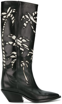 A.F.Vandevorst Palm Embroidered Knee-High Boots