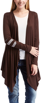 Celeste Brown Elbow-Patch Sidetail Open Cardigan