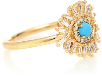 Suzanne Kalan Eye Wide Open 18kt gold, turquoise and diamond ring