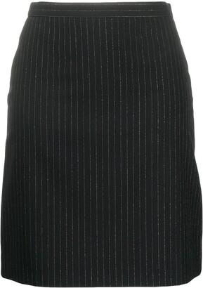 Alexander McQueen Pinstripe Back-Ruffle Wool Skirt