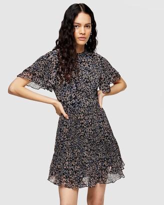 Topshop Ditsy Pleated Mini Dress