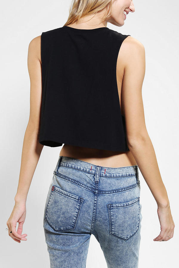 Urban Outfitters Blackstone Butterfly Skull Cropped Tank Top