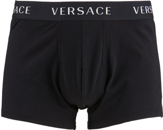 Versace Men's Long Logo-Band Boxer Trunks