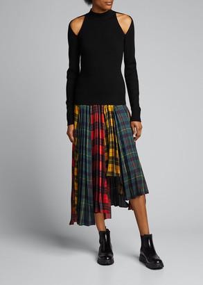 Monse Plaid Pleated Asymmetric Midi Skirt